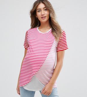 ASOS Maternity – T-shirt d'allaitement avec superposition croisée à rayures –  ...