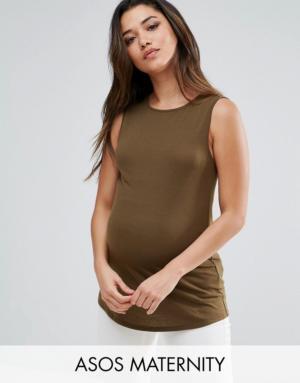 ASOS Maternity – Top côtelé avec fente dans le dos – Vert