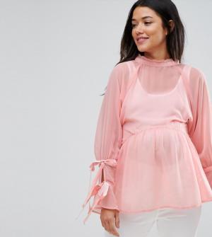 ASOS Maternity – Top smocké à manches avec liens à nouer – Rose