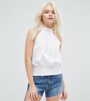 ASOS PETITE – Top habillé froncé en coton – Blanc