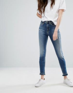 Calvin Klein Jeans – Jean skinny à effet ourlet défait – Bleu