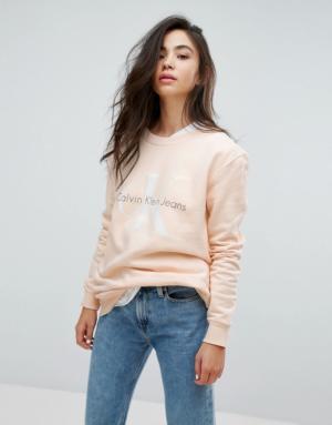 Calvin Klein Jeans – Sweat griffé – Crème