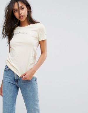 Calvin Klein Jeans – T-shirt cintré à logo – Crème