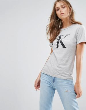 Calvin Klein – T-shirt avec logo – Gris