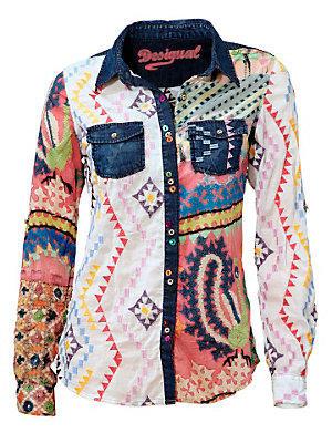 Chemisier en jean Desigual original à imprimés colorés femme Desigual multicolore