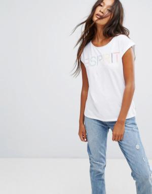 Esprit – T-shirt à slogan pastel – Blanc