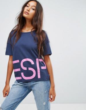 Esprit – T-shirt à slogan sur le pourtour – Bleu
