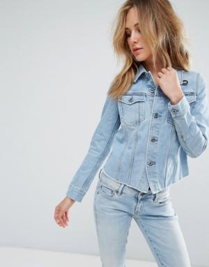 G-Star – 3301 – Veste en jean ajustée et déchirée – Gris