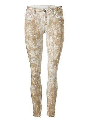 Pantalon imprimé coupe slim 7/8e femme, couleur sable femme B.C. Best Connections écru