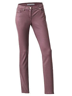 Pantalon slim enduit uni pour femme, tissu stretch femme Ashley Brooke rouge