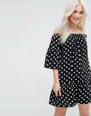Pimkie – Robe à encolure Bardot et motif pois – Noir