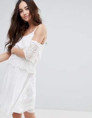 Pimkie – Robe épaules nues à fines bretelles et détail au crochet – Blanc