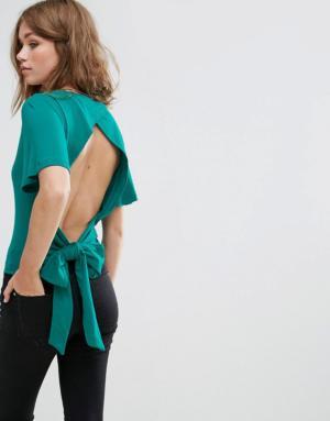 Pimkie – Top noué dans le dos avec boutons – Vert