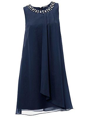 Robe de soirée fluide à encolure bijoux, coupe courte femme Ashley Brooke bleu