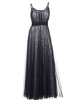 Robe de soirée longue pailletée à fines bretelles femme Ashley Brooke bleu