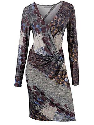 Robe imprimée originale, cache coeur et manches longues femme Ashley Brooke multicolore