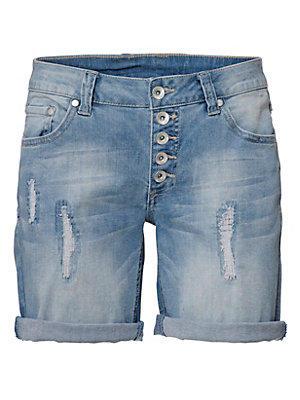 Short bermuda en jean délavé et déchiré pour femme femme B.C. Best Connections bleu