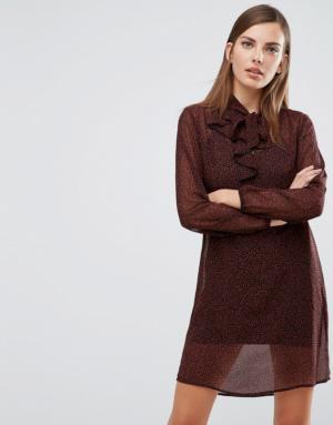 Sisley – Animal – Robe à volants et imprimé animal abstrait – Multi