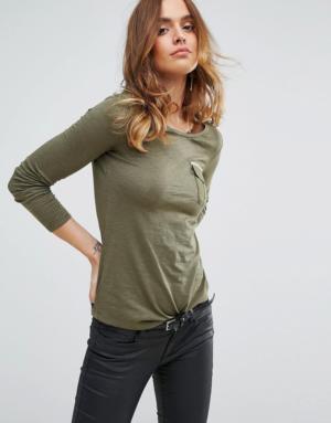 Sisley – T-shirt à manches longues et poche – Vert