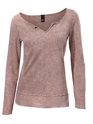 T-shirt manches longues tendance à détails pailletés femme B.C. Best Connections rose