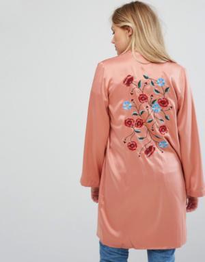 Vero Moda – Kimono soyeux – Rose