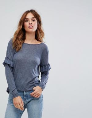 Vero Moda – T-shirt à manches longues volantées – Bleu