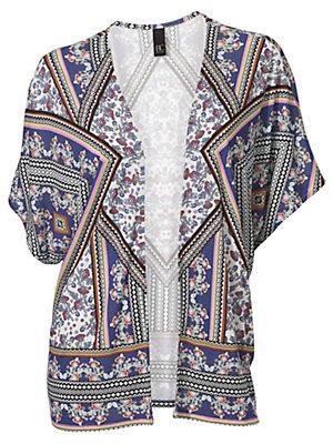 Veste kimono ample à imprimés tendance, manches courtes femme B.C. Best Connections multicolore
