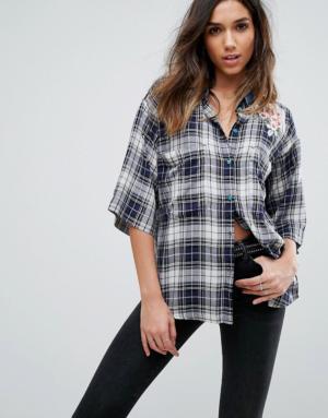 Diesel – Chemise à carreaux avec col en jean et broderies – Multi