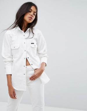 Calvin Klein Jeans – Jupe en jean style western – Blanc