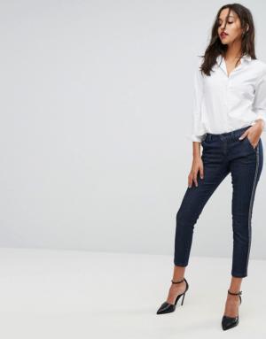 Sisley – Pantalon style chino en jean à rayures – Bleu