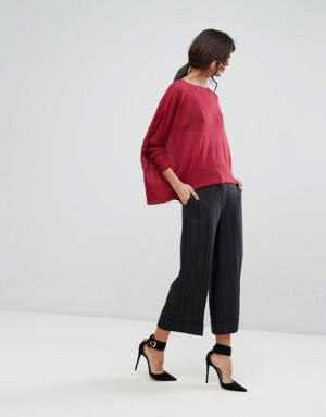 Sisley – Pantacourt rayé coupe large – Noir