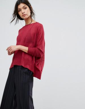 Sisley – Pull oversize en maille fine – Rouge