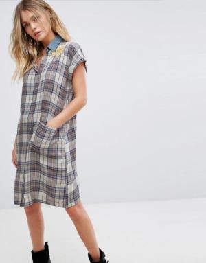 Diesel – Robe chemise à carreaux avec col en jean et broderie – Multi