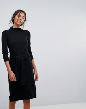 Esprit – Robe en maille avec lien à nouer à la taille – Noir