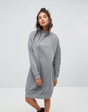 Calvin Klein Jeans – Robe à col polo – Gris