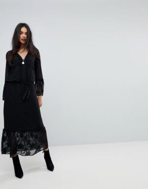Sisley – Robe longue à manches cloche – Noir