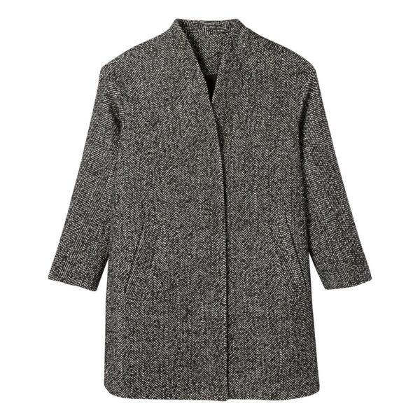 Manteau mi-long sans col motif à chevrons Mouliné Noir/Blanc LA REDOUTE COLLECTIONS
