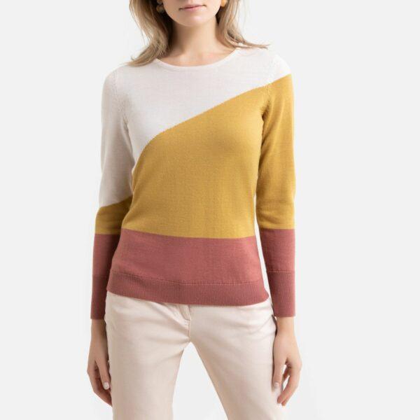 Pull col rond en fine maille laine mélangée Intarsia Fond Écru Anne weyburn