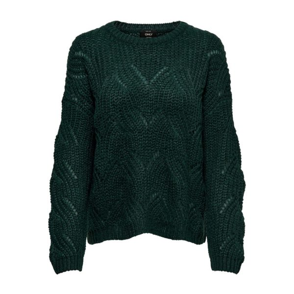 Pull col rond en grosse maille ajourée Rouille;Vert Only