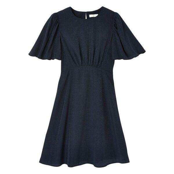 Robe manches courtes volantées Rose Framboise;Bleu Marine LA REDOUTE COLLECTIONS