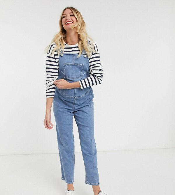 ASOS DESIGN Maternity - Exclusivité - Salopette en jean avec taille ajustable-Bleu Asos