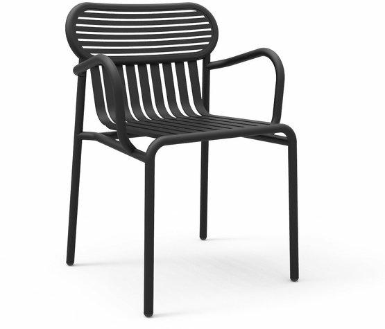 Chaise de jardin avec accoudoirs noire Week-End - Petite Friture