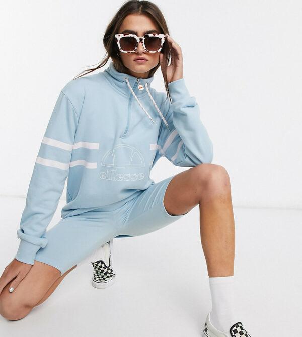 Ellesse - Sweat-shirt oversize d'ensemble avec col cheminée-Bleu Asos