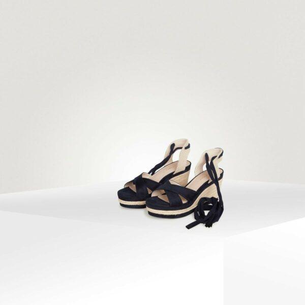 Sandale compensée lien pompon Naf Naf