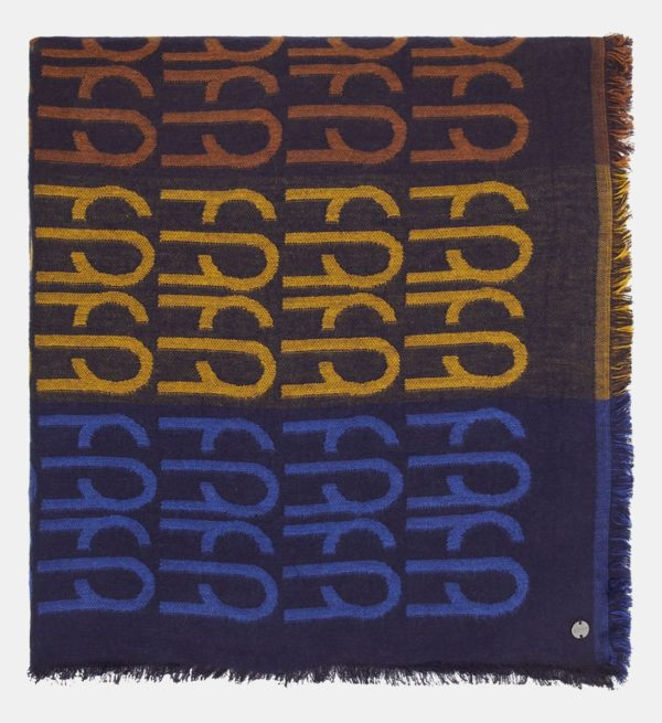 Écharpe monogramme Bleu Esprit Esprit