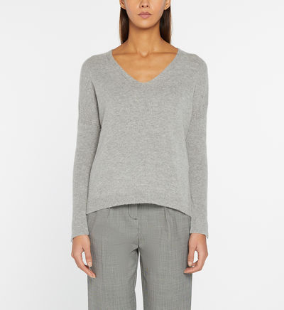Pull Noellie droit maille douce col V Gris Pablo