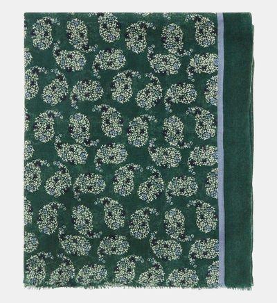 Écharpe motif cachemire laine Vert Pablo